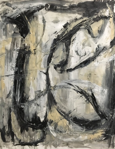 Big abstract painting in black and beige