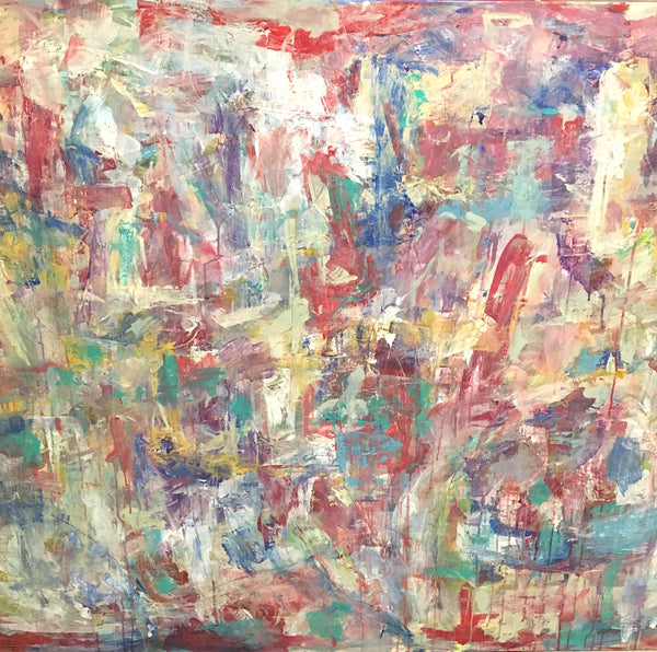 Big canvas and bright color make this abstract painting