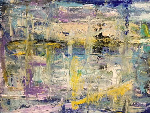 Robust purples and yellows set this abstract painting apart