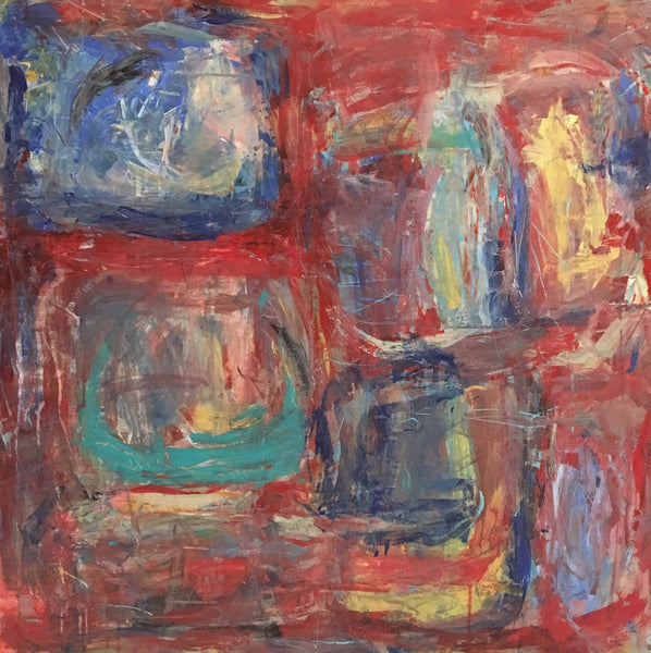 Bright, bold red color make this abstract painting one of a kind