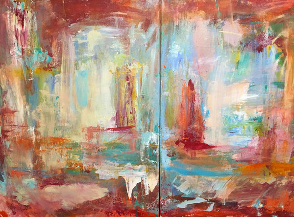 Abstract painting with bright reds and blue hues