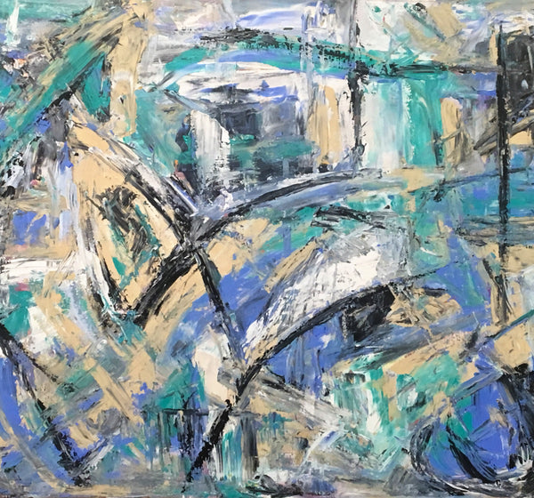 Bold movements with bright teal and blue colors make this abstract painting a statement piece