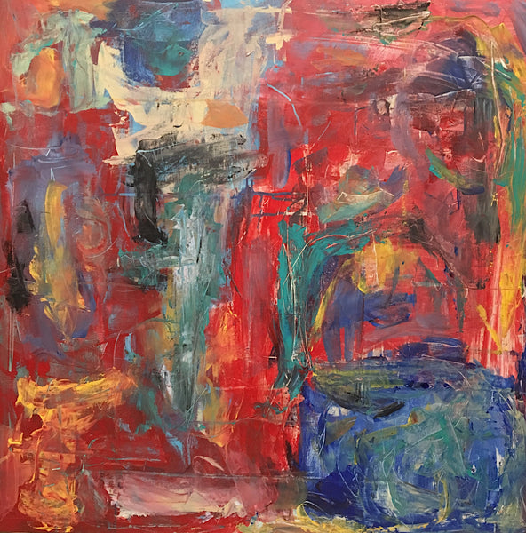 Bold reds bring this abstract painting alive