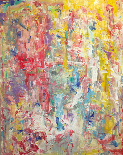 Bright yellows and bold reds make this huge abstract painting a statement piece