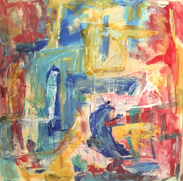 Bright yellow and red color work harmoniously to create this abstract painting