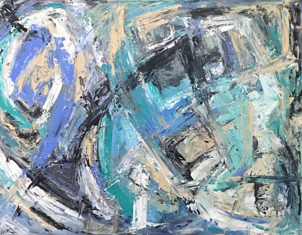 Bright reals accented with blues and blacksMake this abstract painting a statement piece