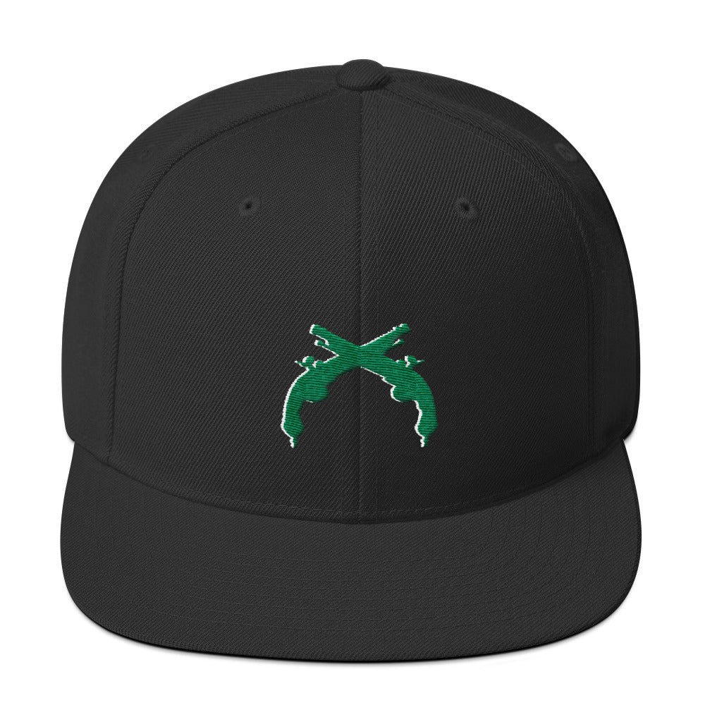 Snapback Hat Green and White