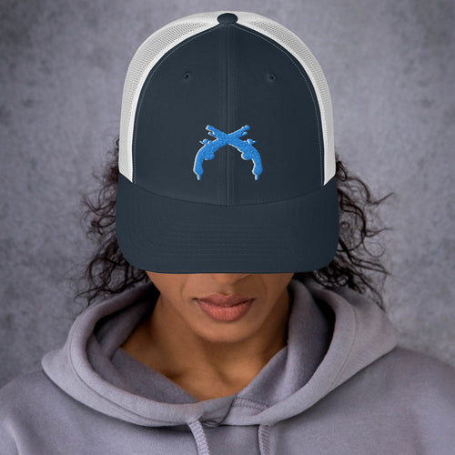 Aqua/White Low Profile Trucker Hat