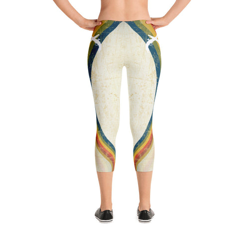 White Swirl Capri Leggings