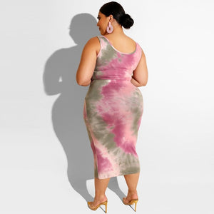 Plus Size Tie Dye Midi Skirt Set