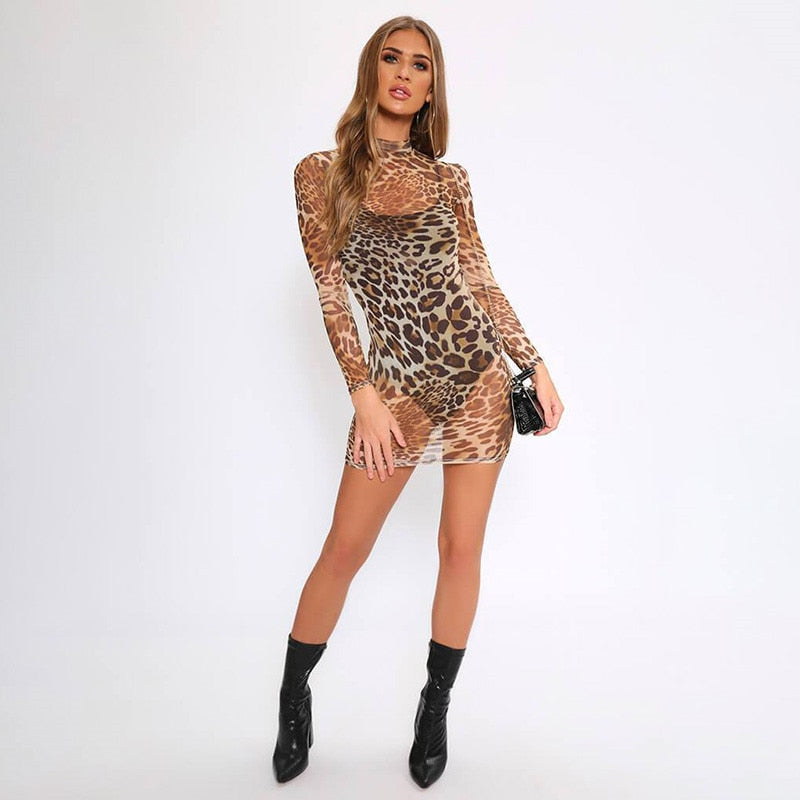 Sheer Animal Long Sleeve Dress