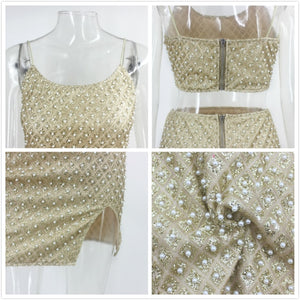 Pearly Beaded Club Skirt Set