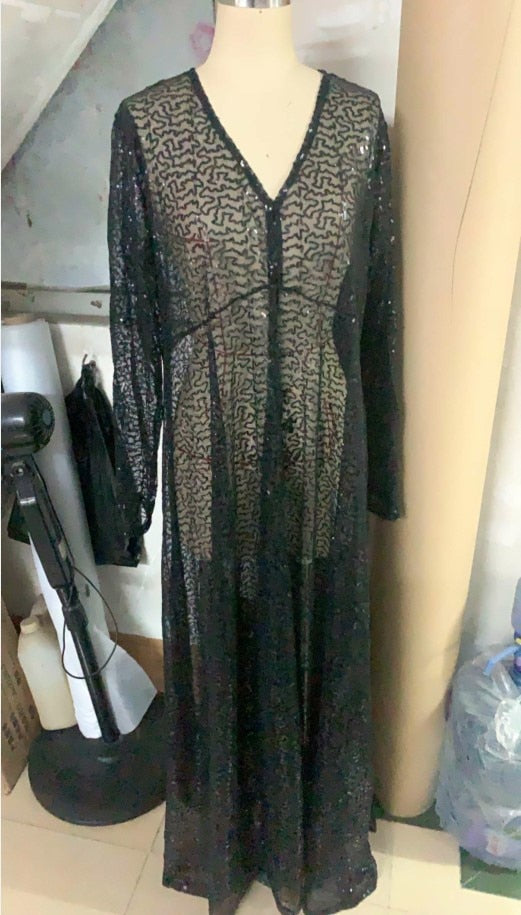 Plus Size Sheer Sequin Black Maxi Dress