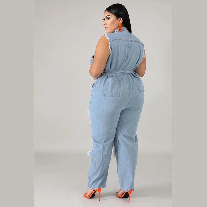 Plus Size Sleeveless Denim Jumpsuit