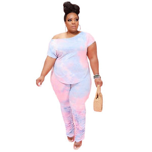 Plus Size Candy Dye Lounge Set