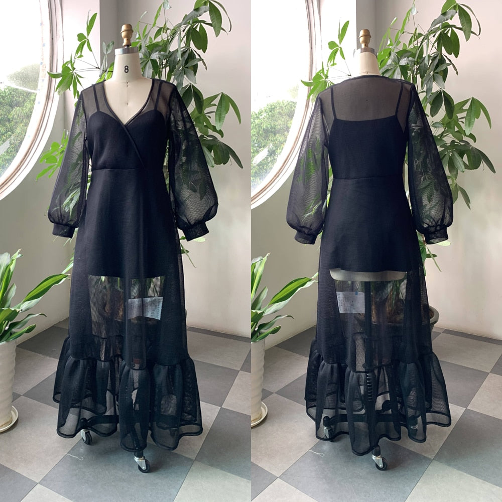 Plus Size Long Sheer Lantern Dress