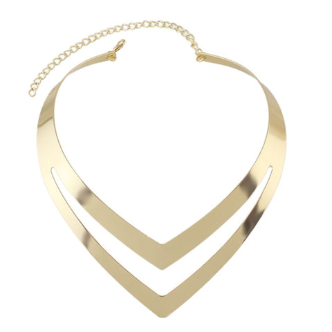 Metal V Torques Statement Necklace