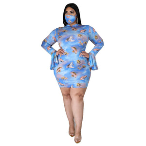 Plus Size Angel Babies Long-sleeve Dress with Mask