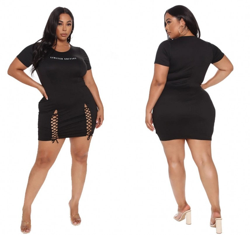 Plus Size Double Laced Shirt Dress