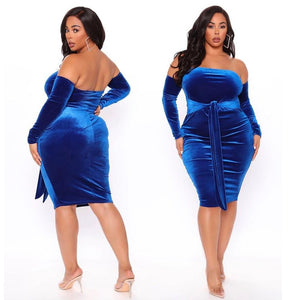 Plus Size Sashed Midi Dress