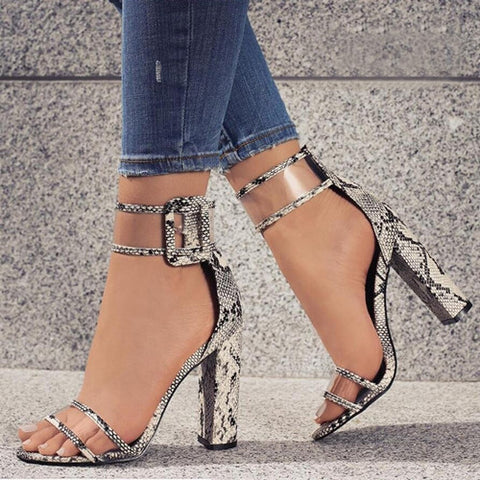 White Serpentine Transparent Ankle Strap Thick Heels Sandals