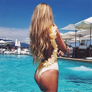 Ruffled Backless One piece Swimsuit