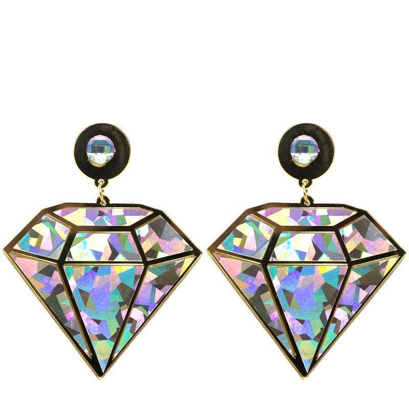 Holo Diamond Drop Earrings