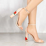 Chunky Rosey Heel Ankle Strap Sandals