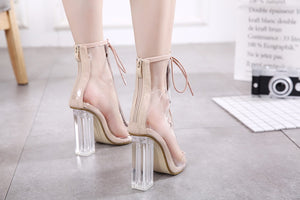 Transparent Heel Lace-up Ankle Peep Toe Booties