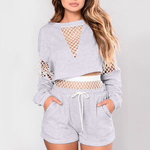 Net Crop Hoody Shorts Set