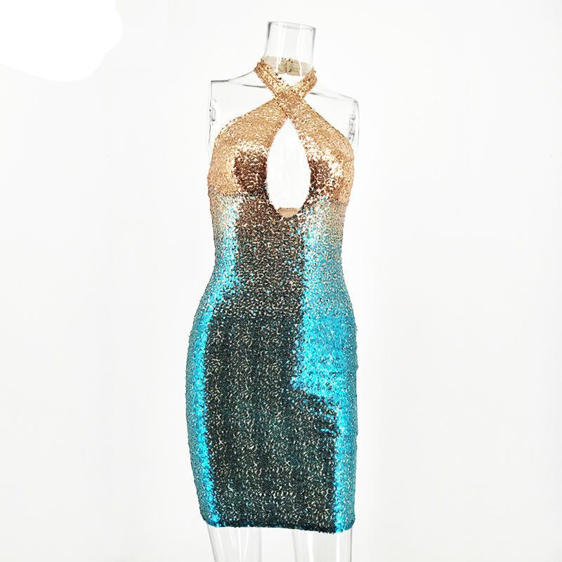 Lily Cross  Halter Sequin Dress