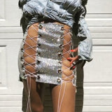 Blangin Booty Lace up Mini Skirt
