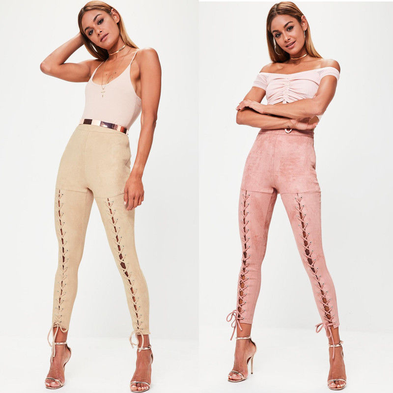 Lace Front Suede Trousers
