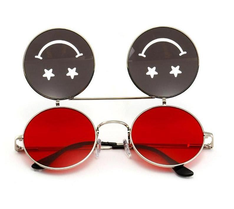 Smiley Face Flip Round Sunglasses
