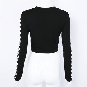P*ssy Kat Brand Long Sleeve Crop Top