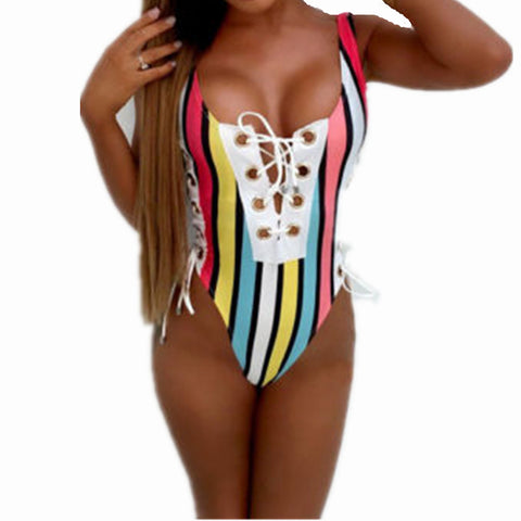 Captain Lace up One Piece Swimsuit