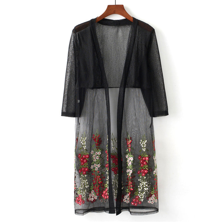 Sheer Floral Long Cardigan