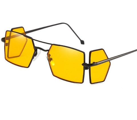 Clamshell Color Tinted Square Sunglasses