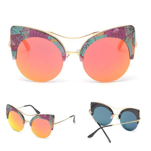 Round Cat Eye Color Mirror Lens Sunglasses