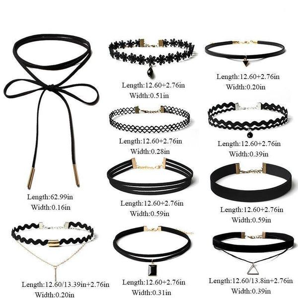 Charming Set of 10 Chokers