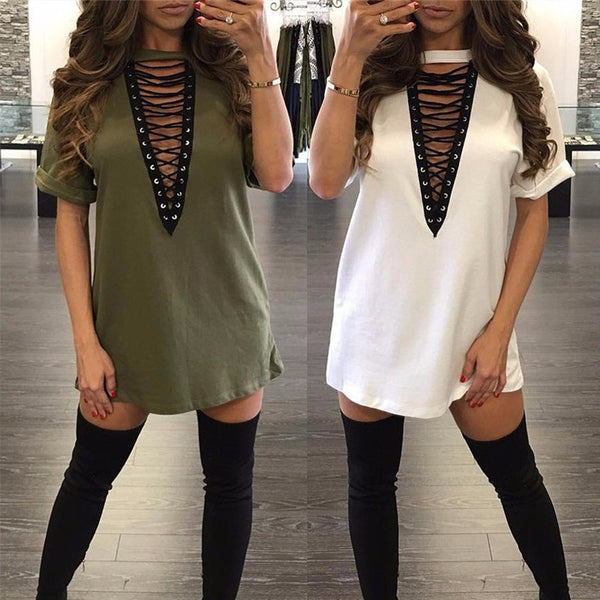 V-Neck Lace Up Hollow Out Mini Dress