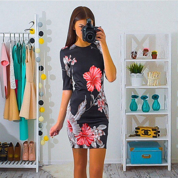 Megan Floral Bodycon Mini Party Dress
