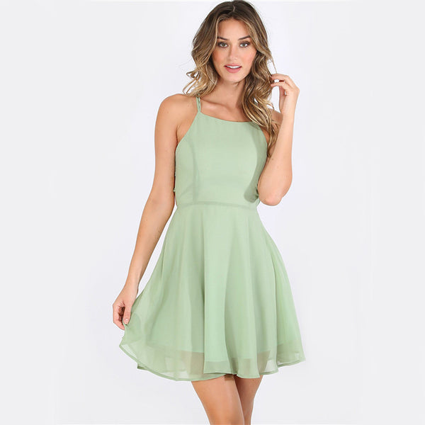 Fiona Lace Up Backless Dress