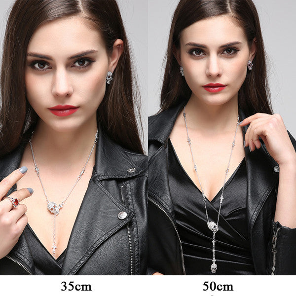 Gothic Skull Cross Pendant Necklace