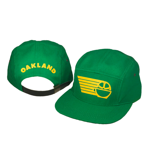 Oakland Five Panel Hat - Green with Yellow