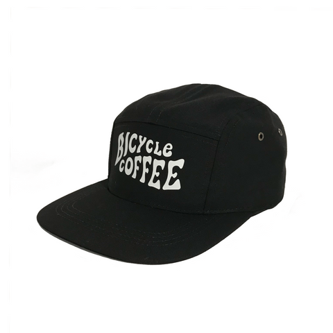 Five Panel Hat - Black with White