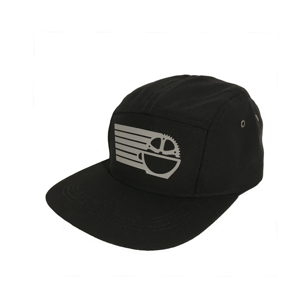 Five Panel Hat, Black with Reflective Silver
