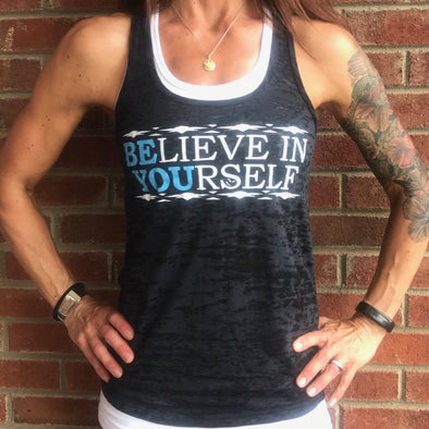 """Be You"" Women's Racerback Burnout Tank Top (2 Color Options)"