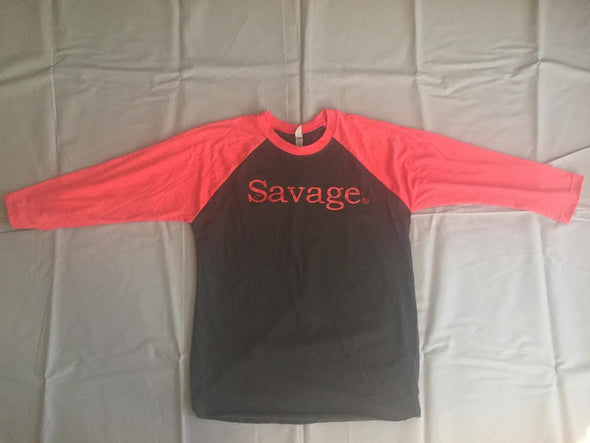 """Savage"" 3/4 Sleeve Baseball Tee"