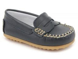 Leather Moccasin Navy for Boys and Girls Patucos